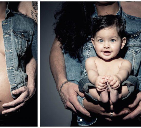 Familiefoto bewerkt voor en na de zwangerschap